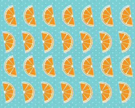 Orange fruit on blue background, vector illustration. Fruit pattern of sliced orange. Wall paper design, healthy organic art design, artwork Foto de archivo - 151353414