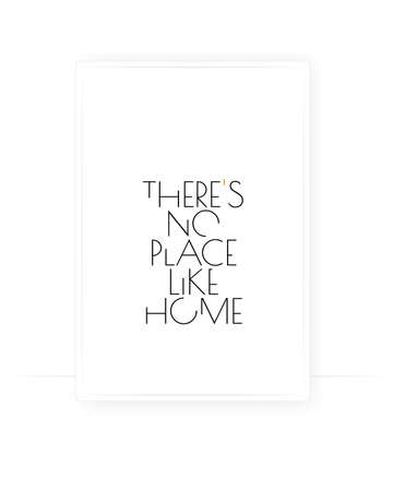 There is no place like home, vector. Motivational, inspirational, positive quotes, affirmation. Scandinavian minimalist poster design. Wall art, artwork, home art decor. Wording design, lettering