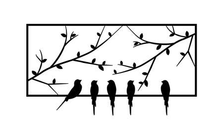 Birds standing on frame of a window, vector. Birds silhouettes on wire isolated on white background. Black and white wall decals, art design, wall artwork. Minimalist art decor