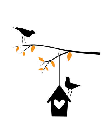 Birds couple silhouette on a branch and birdcage, vector. Birds in love, illustration. Wall decals, artwork, Wall art. Two pieces minimalist poster design