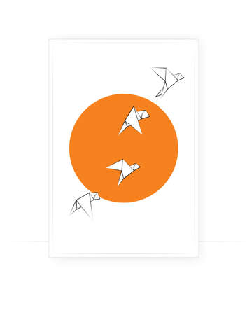 Birds and sun, vector. Abstract poster design in frame. Minimalist art design. Wall art, artwork. White birds silhouettes on sunset