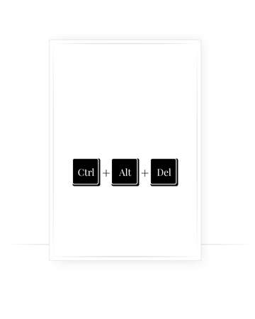 Ctrl + Alt + Del, vector. Ctrl, alt, delete icon. Minimalist modern poster design in a frame. Wall art, artwork.