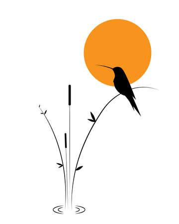 Bird silhouette and bamboo on sunset, vector. Kingfisher bird, illustration. Minimalist art design. Poster design, minimalism. Wall decals, wall art, artwork