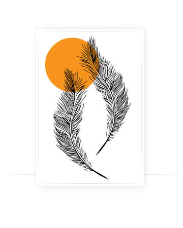Feather illustration with sunset background, vector. Feather silhouette isolated on white background. Wall decals, wall art, artwork. Minimalist poster design Vettoriali