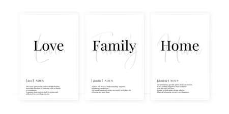 Love family home definition, vector. Minimalist poster design. Wall decals, noun description. Wording Design isolated on white background, lettering. Wall art artwork. Modern poster design in frame Vecteurs