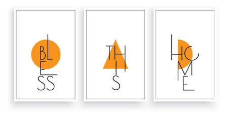 Bless this home, vector. Scandinavian minimalist three pieces poster design. Modern wording design in frame, lettering. Wall art, artwork. Motivational, inspirational life quotes Ilustração Vetorial