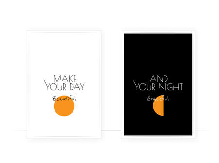 Make your day beautiful, make your night graceful, vector. Minimalist poster design, Scandinavian wall art. Two pieces art, black and white artwork. Sun and moon illustration. Day and night, contrast