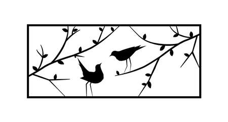 Birds on branch, view of a window, vector. Birds silhouettes on wire isolated on white background. Black and white wall decals, minimalist art design, wall artwork. Metal art decor