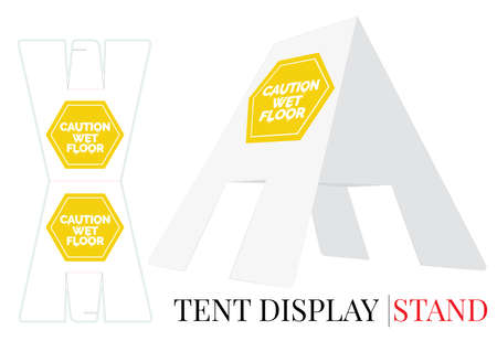 Tent display stand. Caution wet floor sign, vector. Die cut, laser cutting template. White, clear, blank tent display stand mock up isolated on white background with perspective presentation