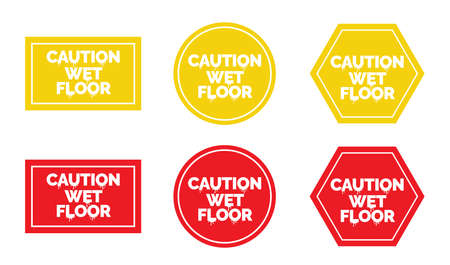 Caution wet floor sign, vector. Attention wet flour sticker design. Label isolated on white background ready for print