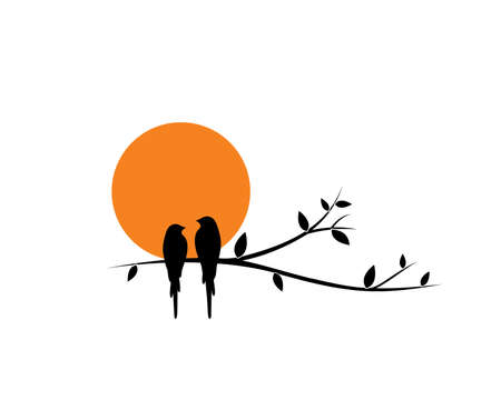 Birds couple silhouette on branch on sunset, vector. Birds in love, illustration. Wall decals, art decoration, wall artwork. Birds silhouette on branch isolated on white background, romantic