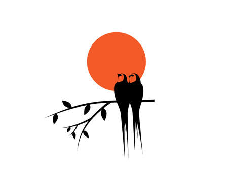 Birds couple silhouettes on branch on sunset, vector. Swallow birds silhouettes on branch isolated on white background, illustration. Wall Decals, Wall Art Decoration. Wall artwork Иллюстрация