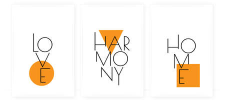 Love, harmony, home, vector. Wording design, lettering. Three pieces scandinavian minimalist poster design. Motivational, inspirational life quotes. Wall art, artwork design in frame