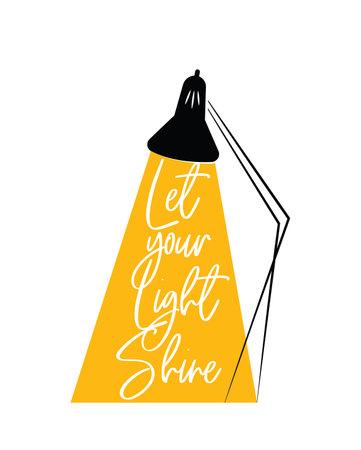 Let your light shine, vector. Motivational inspirational life quotes. Self-achievement positive thought. Minimalist modern poster design. Scandinavian wall art design. Wall artwork