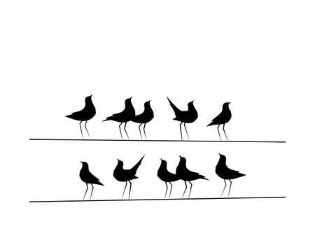 Birds On Wire Vector, Wall Decor, Birds Silhouettes. Minimalist poster design, banner design. Eleventh Birds on Wire Illustration, Wall Art Decor, Wall Decals isolated on white background Ilustração Vetorial