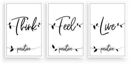 Think positive, feel positive, live positive, vector. Wording design. Motivational, inspirational, life quotes. Scandinavian minimalist three piece poster design with birds on a wire. Wall art decor Vecteurs