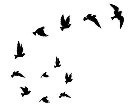 Flying birds silhouettes, vector. Birds illustration isolated on white background. Scandinavian minimalism art design. Wall art, artwork, poster design. Freedom concept Ilustração Vetorial