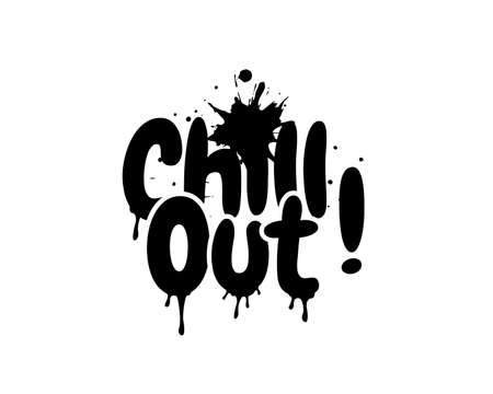 Chill out, vector. Chill out, bomb explosion, cartoon illustration. Fun wording design isolated on white background, lettering. Wall decals, wall art, artwork. Wording design, lettering