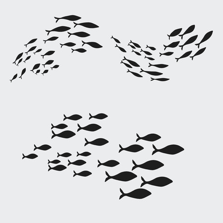 Set silhouettes of groups of sea fishes. Colony of small fish. Icon. Illustration