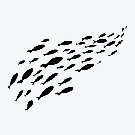 Silhouettes de groupes de poissons de mer. Colonie des petits poissons. Icône avec les taxateurs de la rivière.