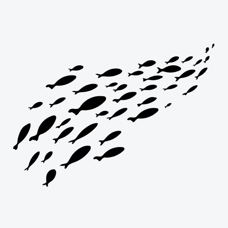 Silhouettes of groups of sea fishes. Colony of small fish. Icon with river taxers. Vectores