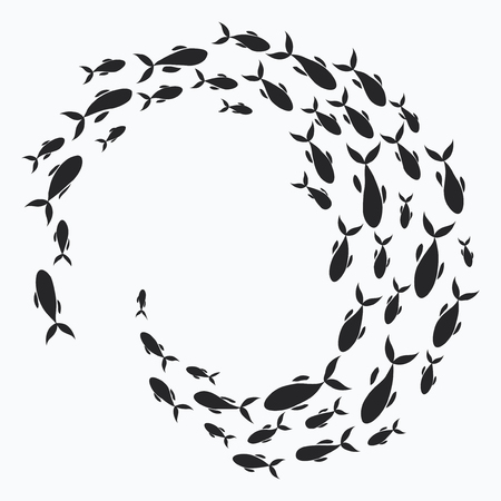 School of fish. A group of silhouette fish swim in a circle. Marine life. Vector illustration. Tattoo. Vettoriali