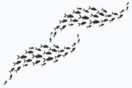 海の魚のグループのシルエット。小さな魚の植民地。川 taxers の付いたアイコンです。  イラスト・ベクター素材