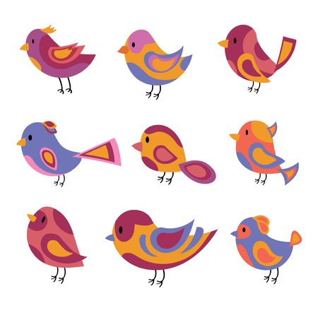 Vector set of stylized birds. A collection of cartoon birds. Illustration for children. Graphic art. Dove.