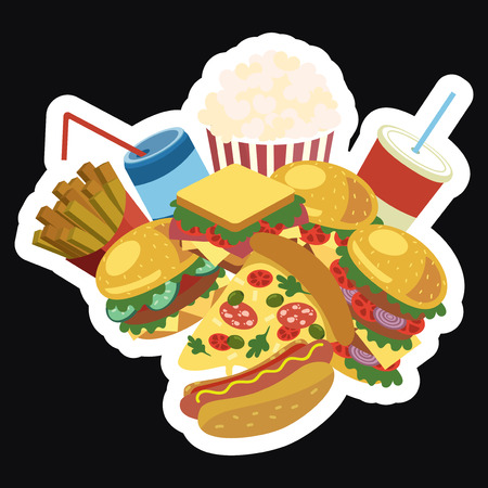 Vector frame with fast food. Stylized street food with space for text. Menu. Illustration