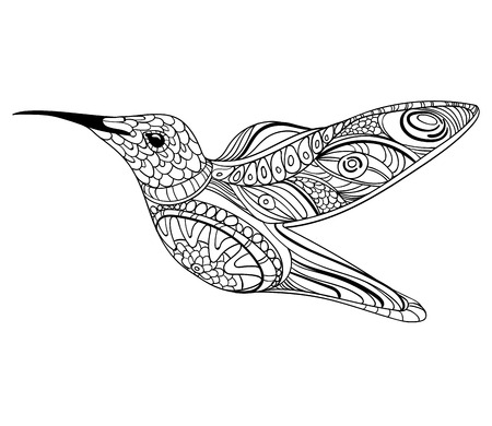Vector illustration of a hummingbird. Drawing with ornaments linear art, black and white drawing by hand tattoo. 向量圖像