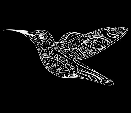 Vector illustration of a hummingbird. Stylized flying bird. Drawing with ornaments. Linear Art. Black and white drawing by hand.