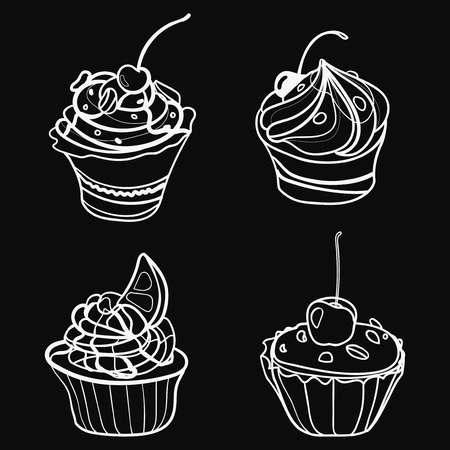 abstract flowers: Vector set of chocolates. Collection of stylized sweets. Black and white illustration of desserts.