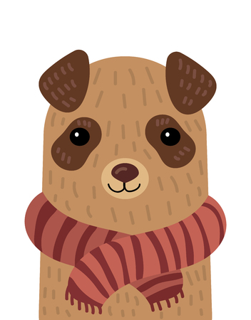 Cartoon portrait of a dog in a scarf. Stylized pet. Art for children.