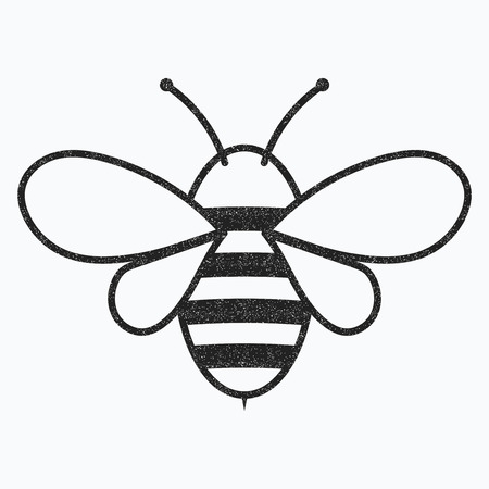 Logo of the bee. Black and white bee icon. Vector illustration with scabs. Stylized insect.
