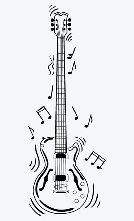 Electric guitar makes a sound. Black and white guitar with notes. Musical instrument. Musical emblem. Isolated stylish art. Modern grunge and rock style. Illustration