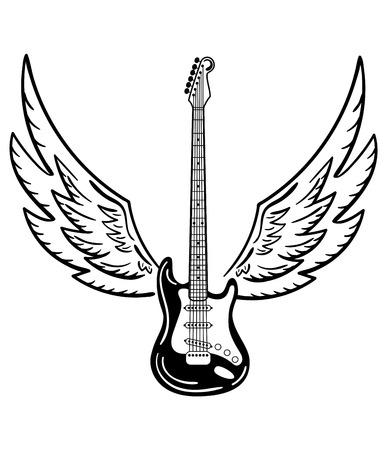 Guitare électrique avec des ailes. Guitare électrique stylisée avec des ailes d'ange. Illustration noir et blanche d'un instrument de musique. Concert de rock. Emblème musical Vecteurs