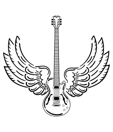 Electric guitar with wings. Stylized electric guitar with angel wings. Black and white illustration of a musical instrument. Rock concert. Musical emblem.
