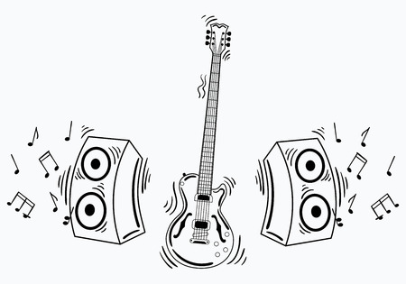 Vector electric guitar with acoustic system. Illustration of a guitar with notes and sound. Musical emblem. Rock concert. Stylized musical instrument. Tattoo.