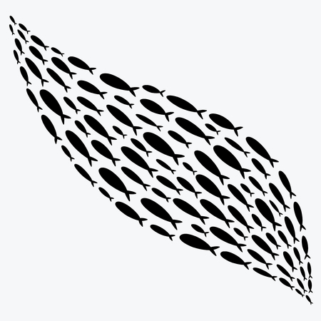 school of fish: Silhouettes of groups of sea fishes. Colony of small fish. Icon.