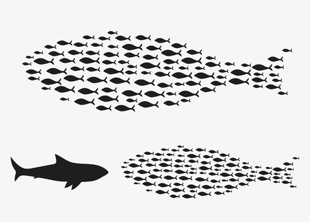 Set silhouettes of groups of sea fishes. Colony of small fish. Icon. Stock Illustratie