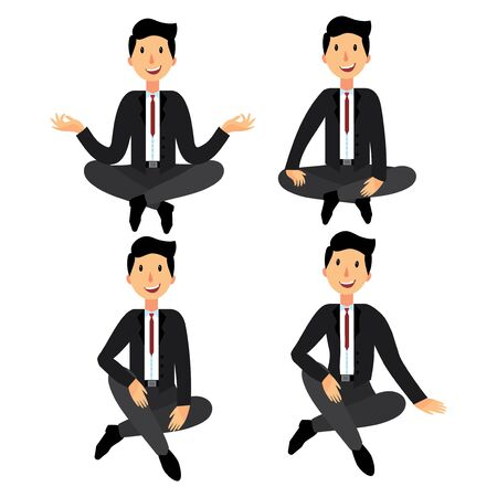 man meditating: A set of businessman sitting on the floor. A collection of seated men in a suit. Cartoon illustration for business. The office worker sits in a lotus pose.