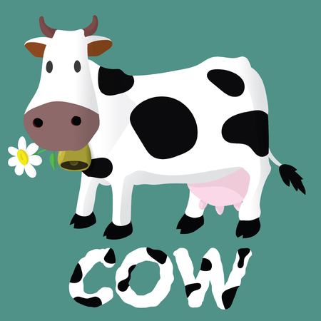 Vector illustration. Cartoon happy cow. Drawing for children. The farm. Stylized animal Illustration