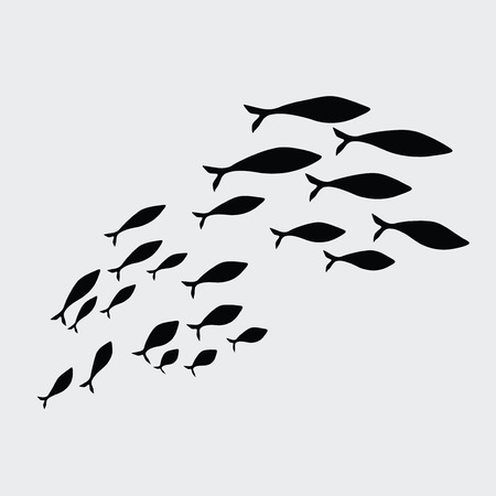Silhouettes of groups of sea fishes. Colony of small fish. Icon.