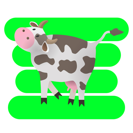 Vector illustration. Cartoon happy cow. Drawing for children. The farm. Stylized animal. Art.