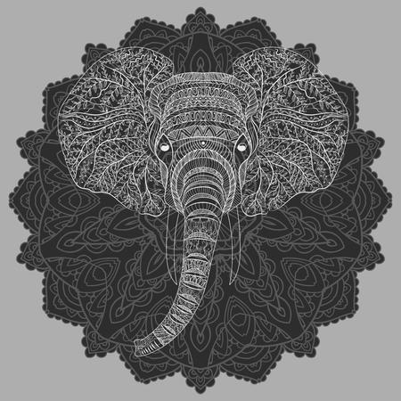 Stylized head of an elephant. Ornamental portrait of an elephant. Black and white drawing. Indian. Mandala.