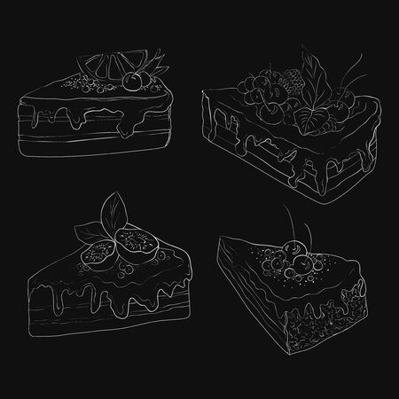 Collection of black and white stylized desserts with fruit and cream. Illustration