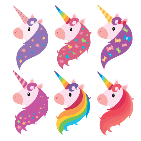 A set of portraits of unicorns in cartoon style. A collection of colored unicorns. Mimic animals. Art. Illustration