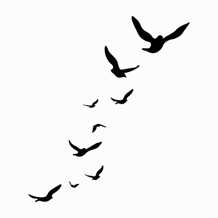 Silhouette of a flock of birds. Black contours of flying birds. Flying pigeons. Tattoo. Isolated objects on white background. Vectores
