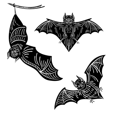 webbing: Set of bats. A collection of terrible bats for Halloween. Flying Monsters. The bloodsuckers. Black and white vector illustration.