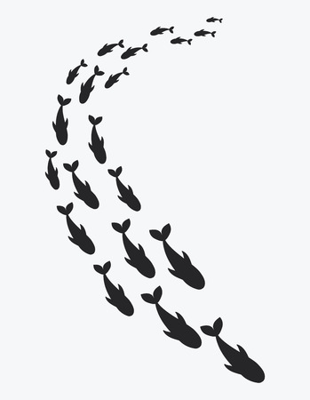 Silhouettes of groups of sea fishes. Colony of small fish. Icon with river taxers. Tattoo. Ilustração